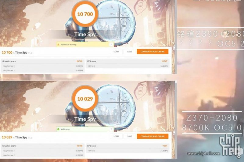 Core i9-9900K reached 5 2 GHz and Core i7-8700K overclocked