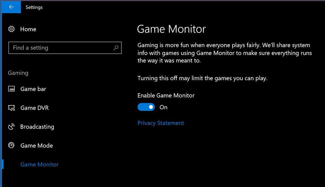 Windows 10 Game Monitor and Power throttling To Save Power
