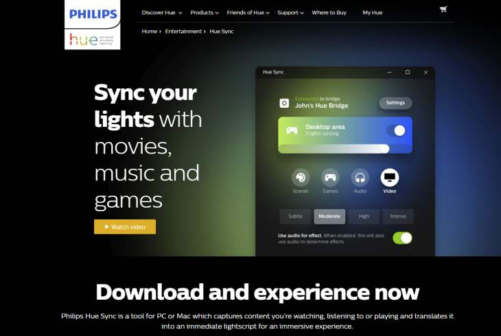 Philips launches Hue Sync for Windows and MacOS to synchronize